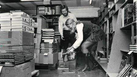 Salvage operations after flood at Bertram Books on Guardian Rd. Date: aug 1 1972. Picture: Local Rec