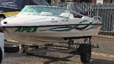 The Fletcher 14 speedboat, which was stolen along with its trailer in Langley in the early hours of