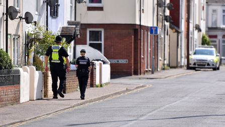 The police presence on South Market Road, Yarmouth. Picture: Jamie Honeywood