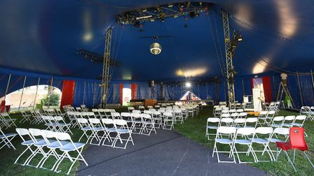 Social distancing seating in the big tent ready for Interlude at Chapelfield Gardens, in the collabo