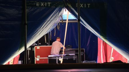 Work being carried out to get the big tent ready for the Interlude shows at Chapelfield Gardens, in