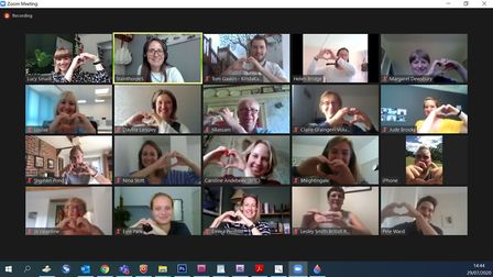 Norwich Together Alliance members show their hearts on a Teams call Picture: Archant