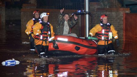 Flooding in Lowestoft on the night of the storm surge in December 2013. PHOTO: Mick Howes