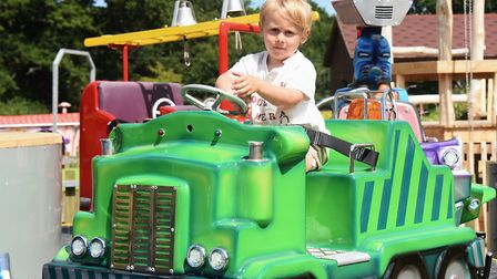 Three-year-old Arlo Stuttle tries out one of the new rides in the refurbished Fun Park at Wroxham Ba