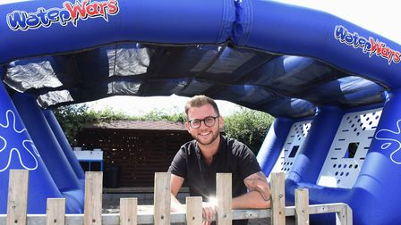 General manager, Ben Marshall, at the new Water Wars attraction in the refurbished Fun Park at Wroxh