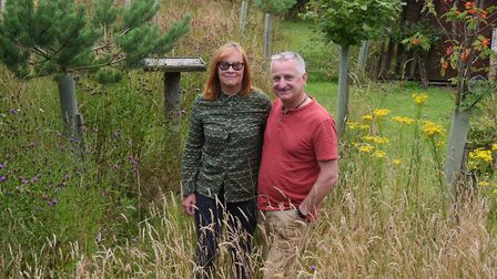 Alan and Lynne Burgess in their wildlife oasis at Gimingham, where they have re-wilded former farmla