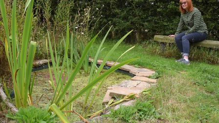 Lynne Burgess by one of the ponds in former farmland at her home at Gimingham. Picture: DENISE BRADL