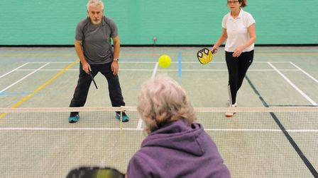 Members of the Norwich Pickleball Club enjoying at Wensum Sports Cemtre before lockdown. Picture: DE
