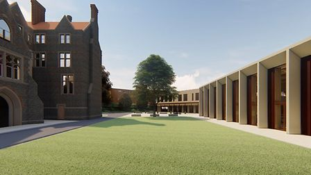 Impression of the revised plans by Norwich School for new facilities and landscaping at its site in