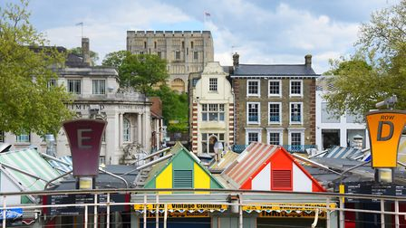 The view from the Memorial Gardens of the colourful market stalls and the castle. Picture: DENISE BR