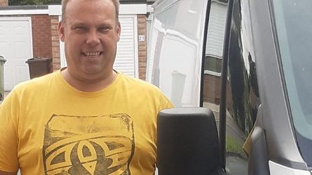 Jason Myhill, a gardener from Thetford, had a close call in his transit van on the A1066, coming out