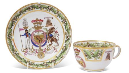 Early 19th century porcelain cup and saucer, decorated with arms of Lord Nelson, estimate £2,500-£3,