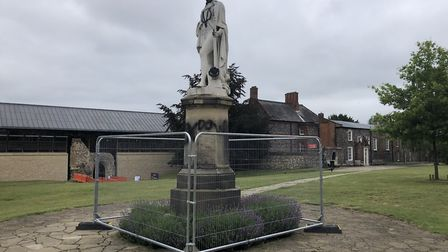 The statue of Vice Admiral Lord Horatio Nelson in the grounds of Norwich Cathedral has been fenced o