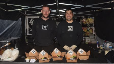 The Eating Street Market runs alongside the screenings, pictured is Wok Box owners Rory McAuley and