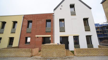 The new Passivhaus homes at Rayne Park, Bowthorpe, with the four bedroomed show home, right, and thr