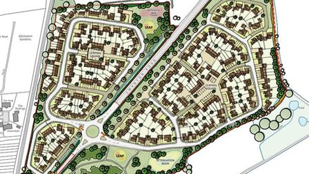 A plan of the Treetops development, to be built on either side of Swanton Road in Dereham's north-ea