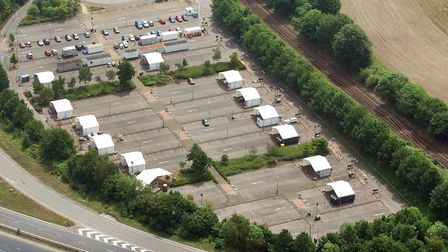 Postwick park and ride coronavirus test centre. Picture: Mike Page