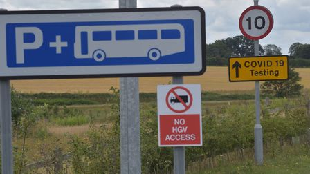 Postwick Park and Ride which is currently being used at a Covid-19 testing station. Photo: Sonya Dun