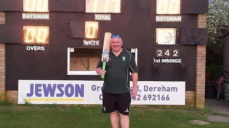Dereham chairman Neil Irons after scoring 117 for his club.