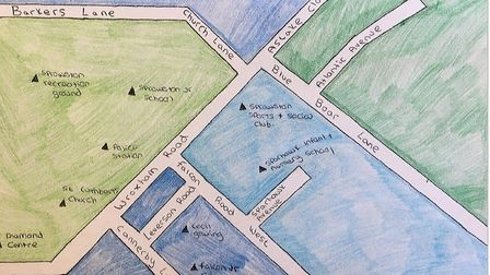 A hand drawn map showing the locations of Sprowston's sea creatures. Picture: SYEP