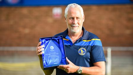 King's Lynn Town boss Ian Culverhouse with the manager of the season award Picture: Ian Burt