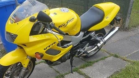 A yellow Honda VTR1000F motorbike was stolen from Rotterdam Road in Lowestoft and later found abando