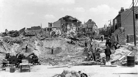 IMAGES OF NORWICH BOOK 2nd World War chapter Norwich Blitzlooking along St Benedicts towards the ci