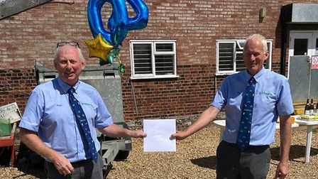 Ben Burgess director Jimmy Lockhart (left) is celebrating 40 years with the Norwich-based farm machi