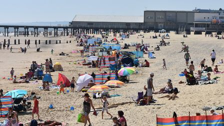 Lowestoft beach was 'very busy' on the hottest day of the year. Picture: Mick Howes