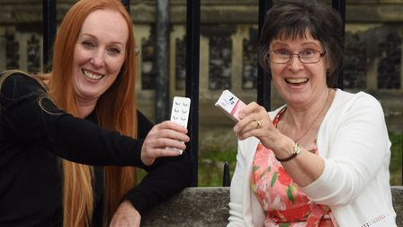 Tracey Buckenham, left, and Tara Riddle of Norfolk Thyroid Group, celebrate the T3 drug for under-ac