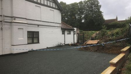 Fire damage at the new mosque site in Aylsham Road Norwich. Picture: Simon Parkin