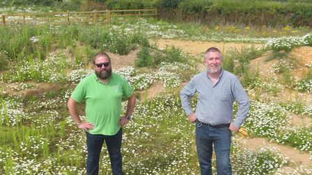 Deepdale Farm owner Jason Borthwick (left), with estate manager Nathan Nelson. Pictures: BRITTANY WO
