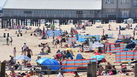 A busy south Lowestoft beach as thousands flocked to the east coast on the hottest day of the year.