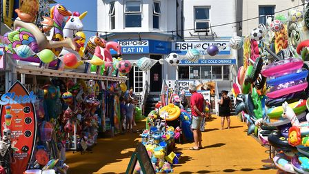 Pinkys ice cream parlour and Michaels fish and chips on The Esplanade in Lowestoft was 'very busy' o