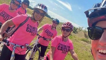 The group of parents who are hoping to ride 50 miles in a day around Norfolk for Caitlin Bygrave's s
