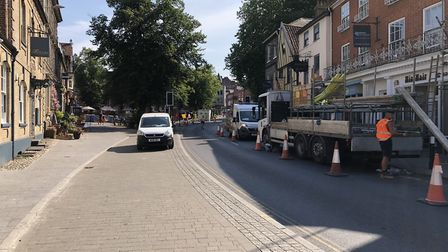 Day one of the first phase of roadworks in Tombland, Norwich. Picture: Daniel Moxon