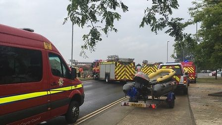 Emergency services are dealing with an incident on the river Bure in Great Yarmouth. Picture: Liz Co
