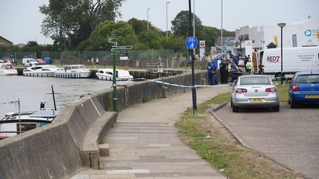 The emergency services at an incident on the River Bure at Great Yarmouth. Picture: DENISE BRADLEY