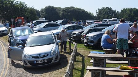 The busy car park as visitors flock to Overstrand in the very hot weather. Picture: DENISE BRADLEY