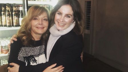Sharon Bruchez, left, with her step daughter Chloe, photographed just before she began shielding. Pi