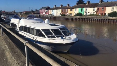 The Diamond Emblem cruiser moored at Great Yarmouth Yacht Station the day after a woman died at the