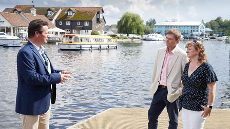 Nigel Huddleston meets James and Ruth Knight from Norfolk Broads Direct at Wroxham. Picture: Visit E