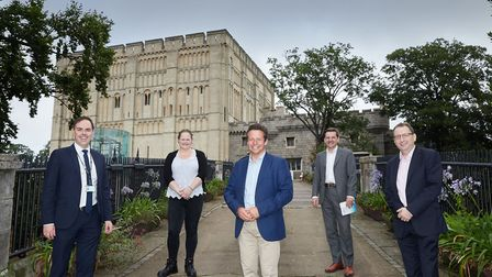 Nigel Huddleston (centre) with (l to r) Norfolk County Council Director of Culture & Heritage Steve