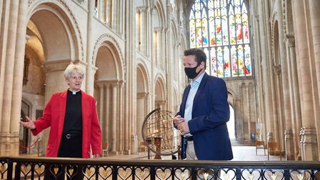 Nigel Huddleston with Norwich Cathedral Dean Jane Hedges. Picture: Visit East of England
