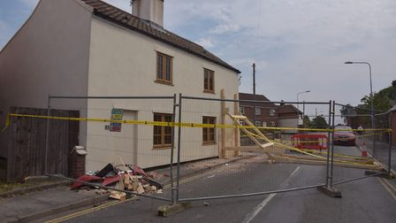 The house on London Road in Dereham which was damaged by a car.Byline: Sonya Duncan(C) Archant 2020
