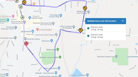 The diversion put in place by Norfolk County Council Highways after the London Road crash in Dereham