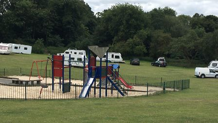 The group of Travellers who moved on to Danby Close parkland. Picture: Archant.