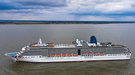 A cruise ship, the Arcadia, has been spotted off the coast of Lowestoft. Picture: Oliver Bolton @oli