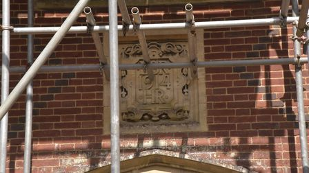 The plaque bearing the date of construction of Drayton Old Lodge. Byline: Sonya Duncan (C) Archant 2