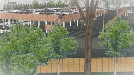 How the new car park at Norfolk County Council's County Hall headquarters could look. Pic: Icarus Co